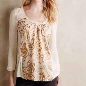 Anthropologie Meadow Rue Mariana Gold Burnout Top